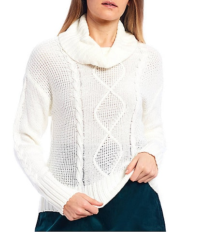 Copper Key Cable Knit Turtleneck Sweater