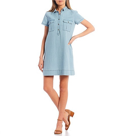 Copper Key Chambray Shirt Dress