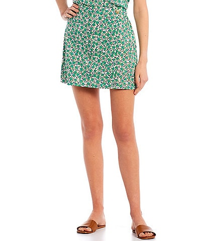 Copper Key Coordinating Floral Print Skirt