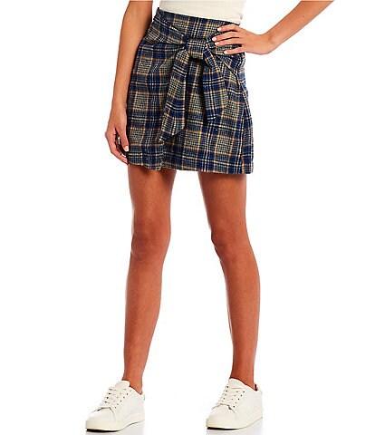 Copper Key Coordinating Tie Waist Wide Plaid Mini Skirt