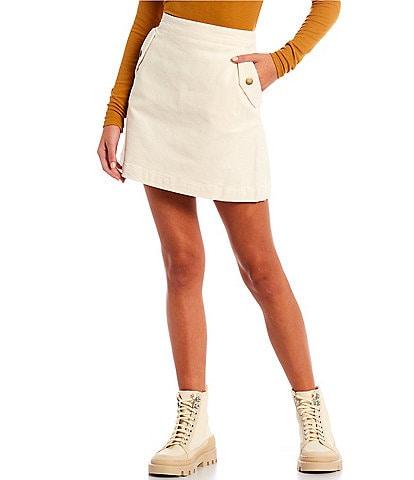 Copper Key Corduroy Flap Pocket Mini Skirt