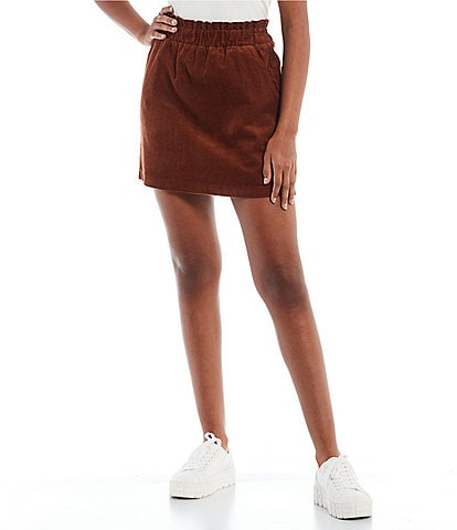 Copper Key Corduroy Paperbag Waist Mini Skirt