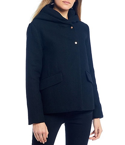 Copper Key Cropped Hooded Long Sleeve Coat