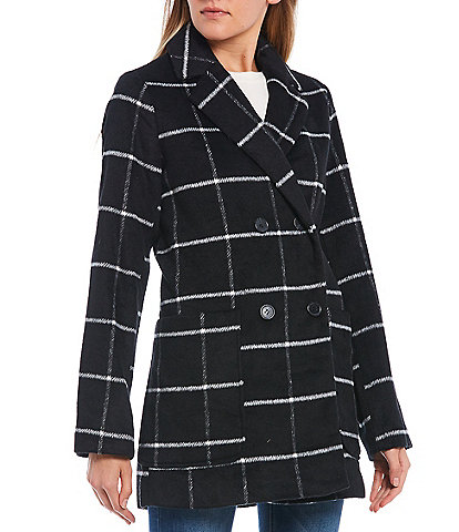Copper Key Double Breasted Plaid Topper Coat