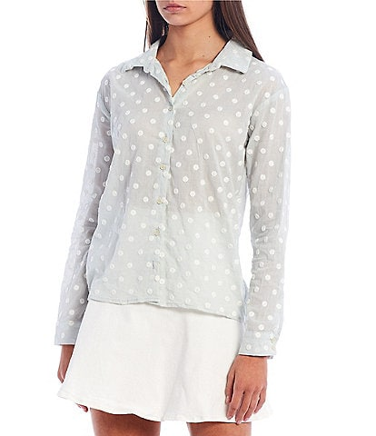 Copper Key Embroidered Dot Long Sleeve Top