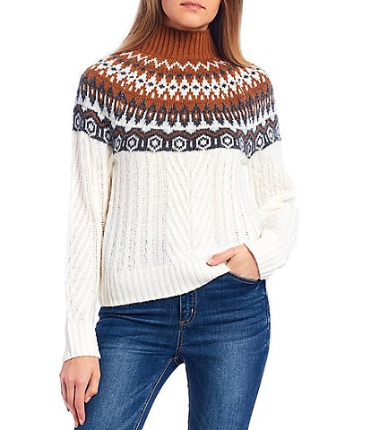 Copper Key Fair Isle Mock Neck Sweater
