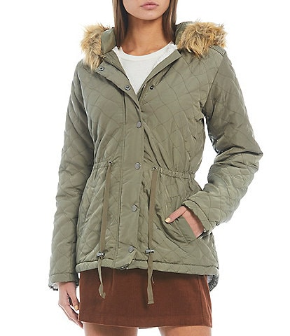 Copper Key Faux Fur Trim Hooded Long Sleeve Quilted Anorak Coat