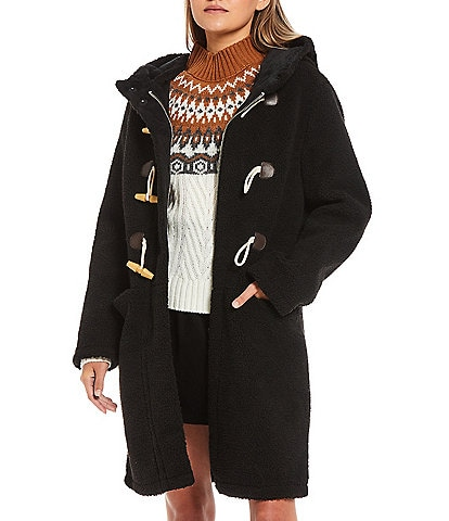 Copper Key Faux Wool Hoodeed Flat Front Pocket Toggle Button Coat