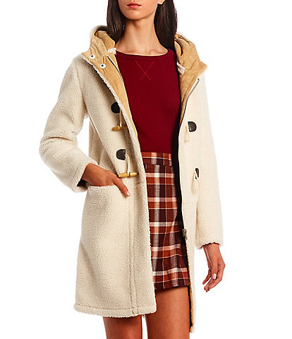Copper Key Faux Wool Hoodeed Flat Front Pocket Toggle Button Cozy Coat