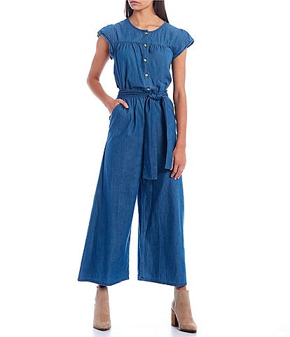 Copper Key Flutter Sleeve Wide Leg Jumpsuit