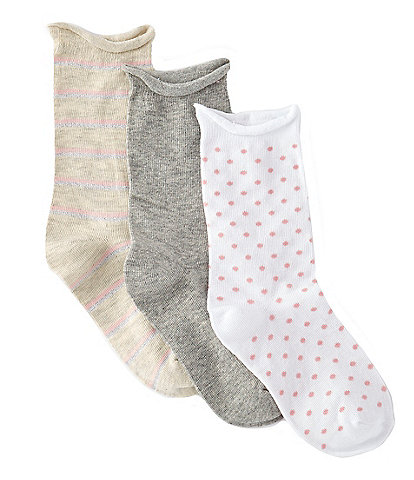 Copper Key Girls 3-Pack Stripe/Dotted Crew Socks