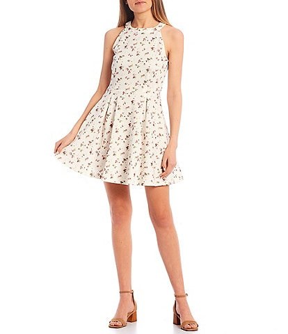 Copper Key Halter Neck Floral Print Scuba Dress