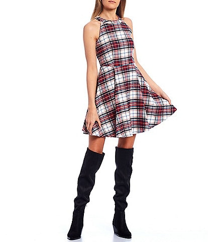 Copper Key Halter Neck Plaid Dress