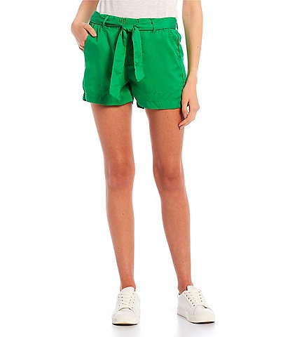 Copper Key High Rise Tie Front Tencel Shorts
