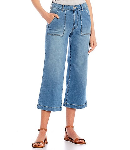 Copper Key High Waisted Patch Pocket Cropped Jeans