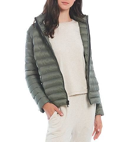 Copper Key Lightweight Quilted Long Sleeve Stand Collar Puffer Coat