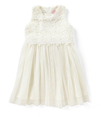 Popatu Little/Big Girls 2-8 Lace/Tulle Tie-Back Dress