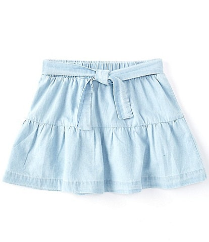 Copper Key Little Girls 2T-6X Chambray Tiered Skirt