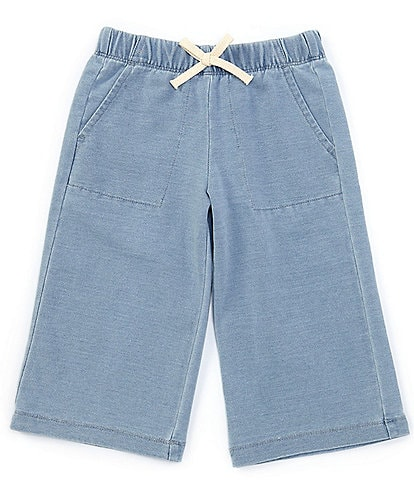 Copper Key Little Girls 2T-6X Cropped Wide-Leg Knit Denim Pant