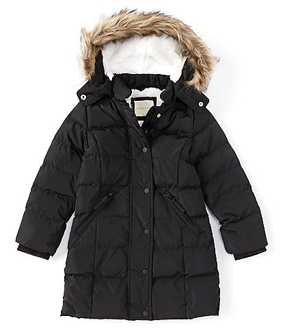 Copper Key Little Girls 2T-6X Faux-Fur Trim Fleece Lined Hooded Quilted Puffer Snow Ski Coat