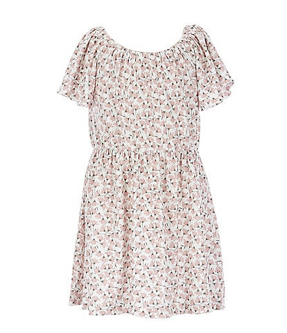 Copper Key Little Girls 2T-6X Floral Flutter-Sleeve Yummy Fit-And-Flare Dress