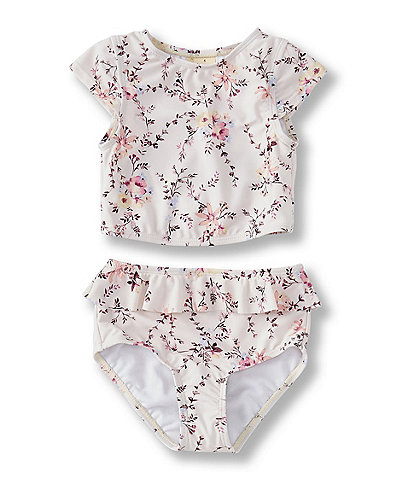 Copper Key Little Girls 2T-6X Floral-Printed Two-Piece Rashguard Swimsuit
