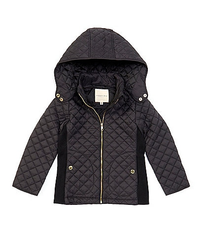Copper Key Little Girls 2T-6X Nylon Knit Panel Quilted Coat