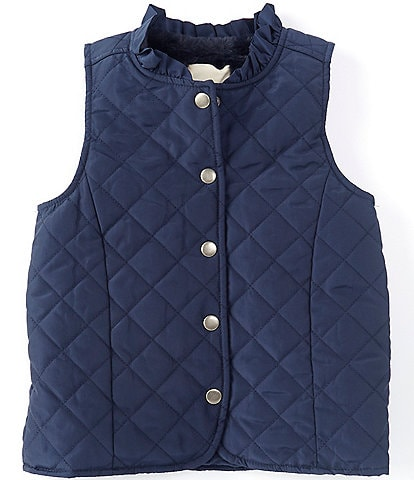 Copper Key Little Girls 2T-6X Ruffle Collar Quilted Vest