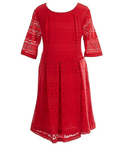 Copper Key Little Girls 2T-6X Semi-Pleated Lace A-Line Dress