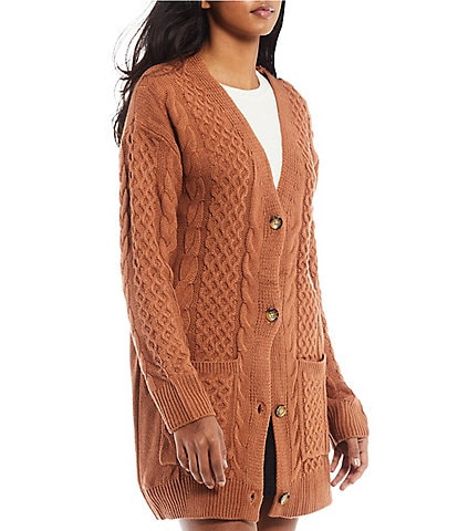 Copper Key Long Button Front Cable Knit Cardigan