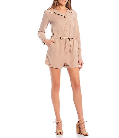 Copper Key Long Sleeve Button Down Romper