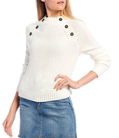 Copper Key Long Sleeve Button Mock Neck Sweater