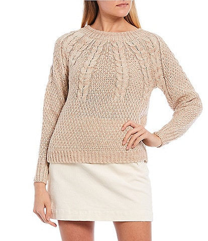 Copper Key Long Sleeve Cable Knit Sweater