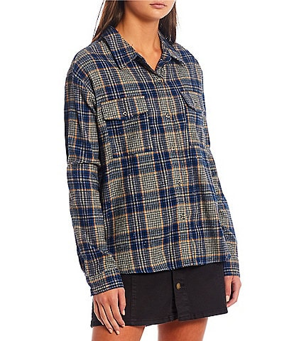 Copper Key Multi Plaid Long Sleeve Button Front Flannel Top