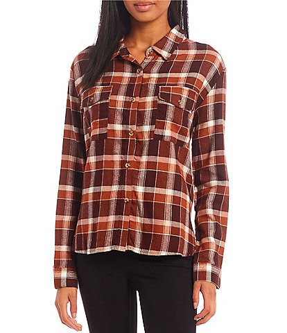 Copper Key Coordinating Plaid Long Sleeve Button Front Flannel Top