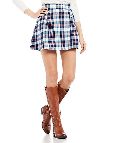 Copper Key Plaid Mini Skirt