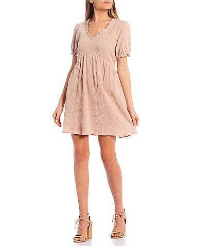 Copper Key Puff Sleeve Gauze Ruffle Babydoll Dress