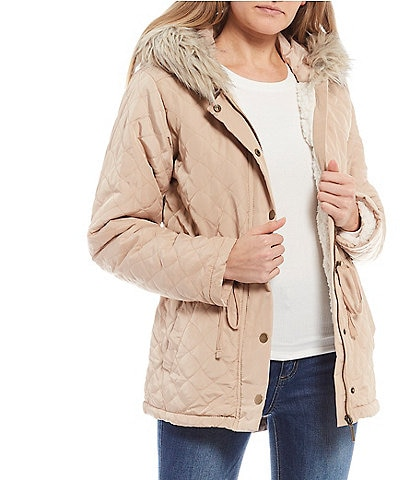Copper Key Quilted Faux Fur Hooded Anorak Coat