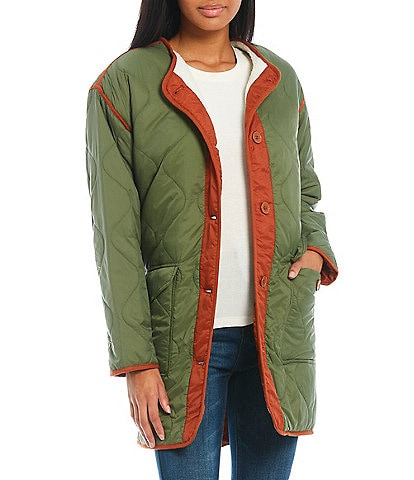 Copper Key Quilted Long Sleeve Contrast Trim Puffer Coat