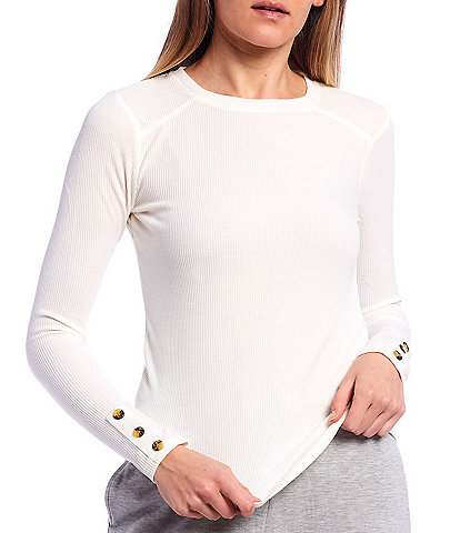 Copper Key Round Neck Knit Thermal Long Sleeve Top
