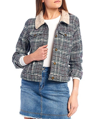 Copper Key Shearling Collar Plaid Jacket