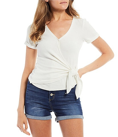 Copper Key Short Sleeve Ribbed Knit Wrap Top