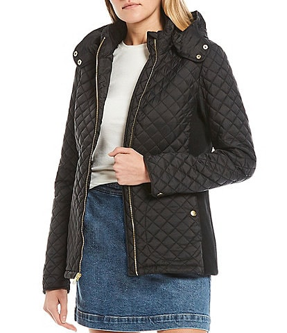 Copper Key Side Panel Quilted Coat with Removable Hood