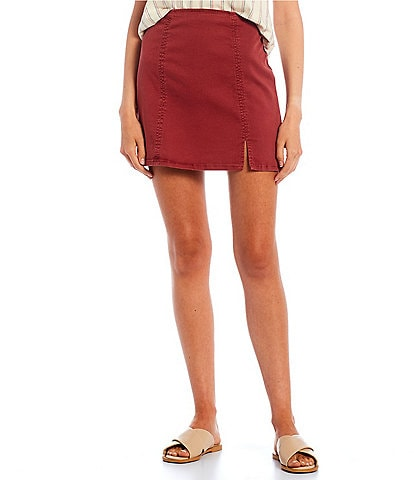 Copper Key Side Slit Denim Mini Skirt