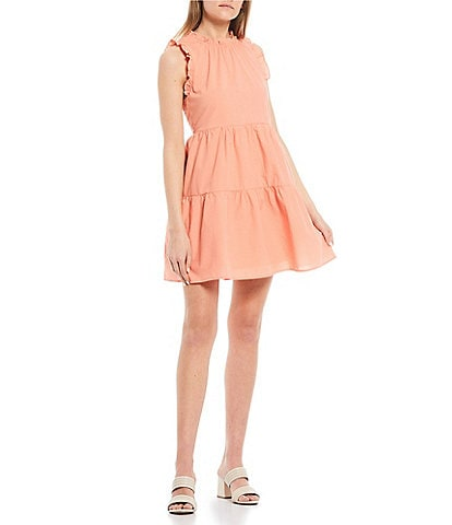 Copper Key Sleeveless Ruffle Babydoll Dress