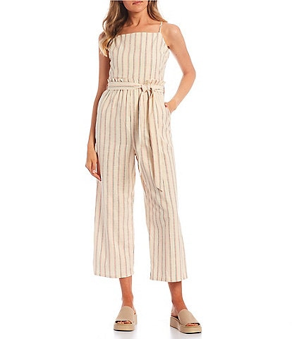 Copper Key Stripe Tie Front Jumpsuit