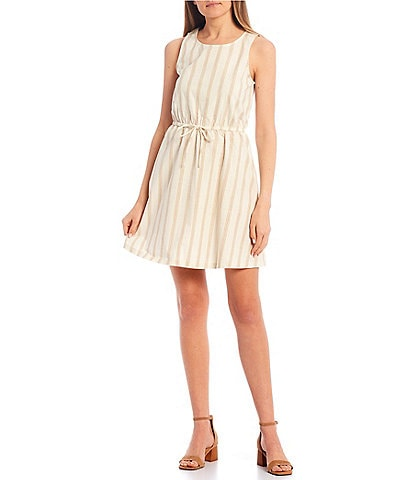 Copper Key Stripe Tie Waist Dress