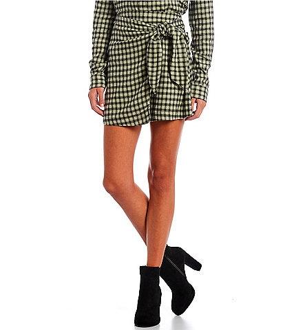 Copper Key Coordinating Tie Waist Plaid Mini Skirt