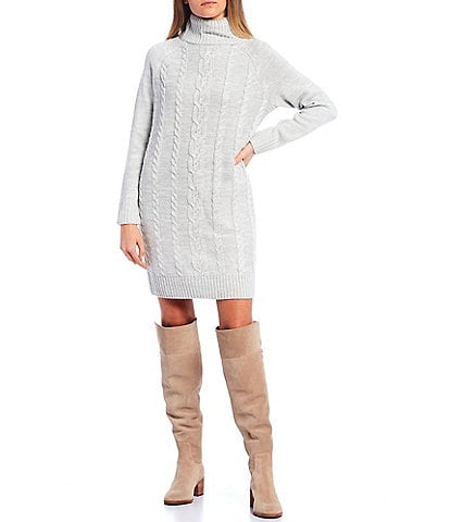 Copper Key Turtle Neck Cable Knit Dress