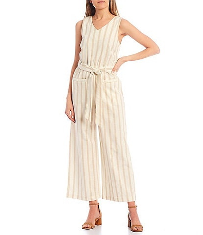 Copper Key V-Neck Stripe Jumpsuit